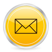Mail yellow circle icon — Vetor de Stock