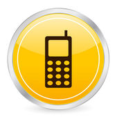 Mobile phone yellow circle icon — Stock Vector