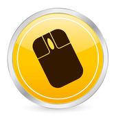 Mouse yellow circle icon — Stock Vector