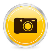 Digital photo yellow circle icon — Stock Vector