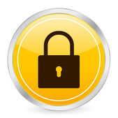 Padlock yellow circle icon — Stock Vector