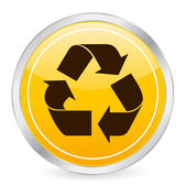 Recycle symbol yellow circle icon — ストックベクタ
