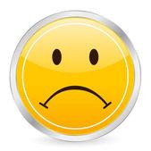 Sad face yellow circle icon — Stock Vector