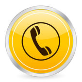 Phone yellow circle icon — Stock Vector