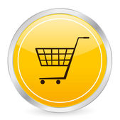 Shopping cart gul cirkel ikonen — Stockvektor