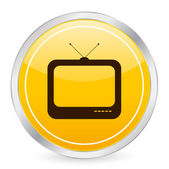 Tv yellow circle icon — Stock Vector