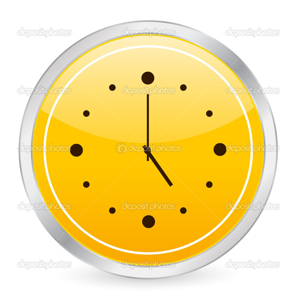Clock yellow circle icon on a white background. Vector illustration.  Stock Vector #2055164