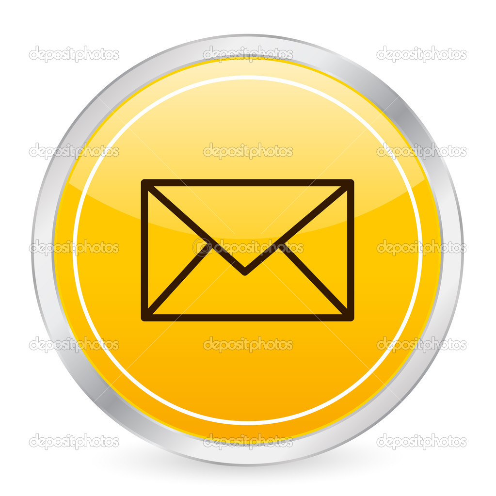 Mail yellow circle icon on a white background. Vector illustration.  Stock Vector #2055230