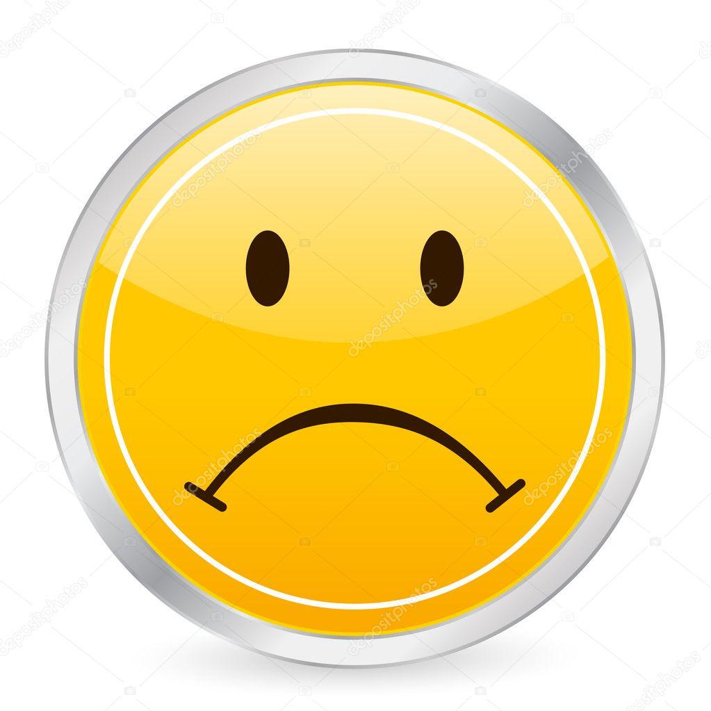 Upset Face Icon Sad Face Yellow Circle Icon on