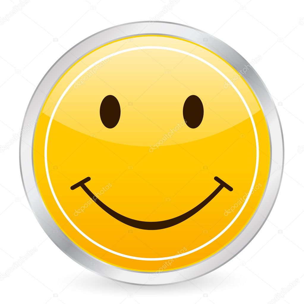 Smile face yellow circle icon on a white background. Vector illustration. — Stock Vector #2055416