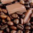 Coffee and chocolate background — Stock Photo