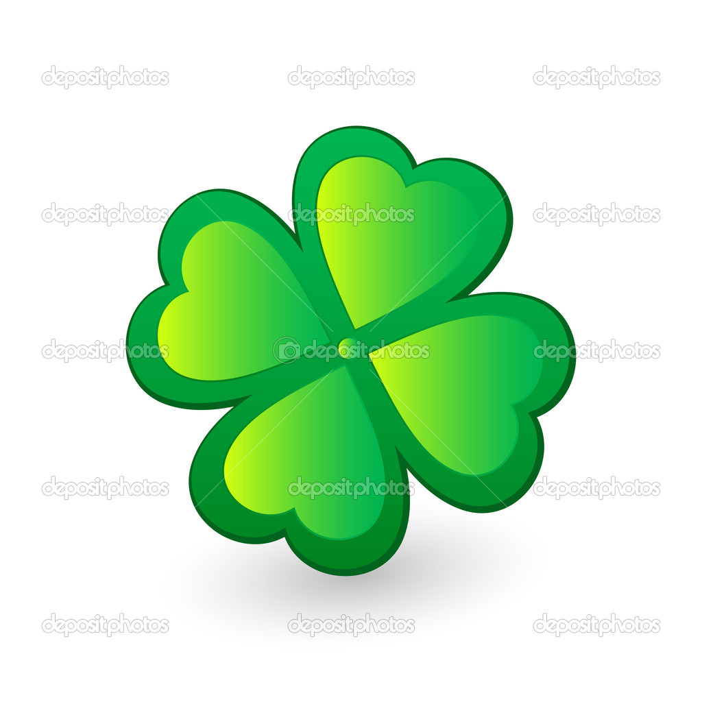 Green four leafs clover. Vector illustration. — Stock Vector #2101944