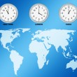 Stock Photo: World map and clocks