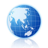Blue world globe with reflection 2 — Stock Photo