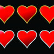 Six hearts - Stock Vector