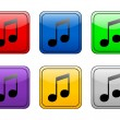Rounded square button music — Stock Vector