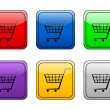 Rounded square button shopping cart — Vector de stock