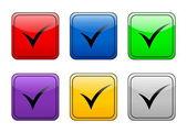 Símbolo de verificación botón cuadrado redondeado — Vector de stock