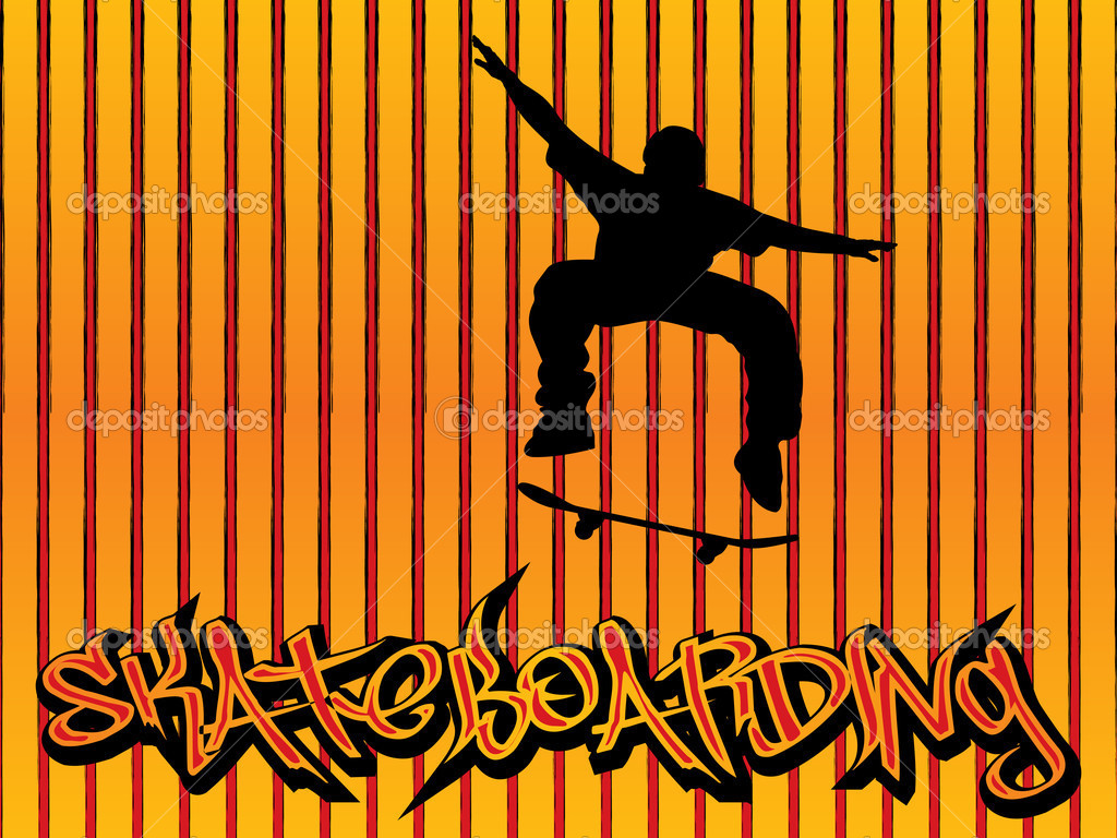 Extreme skater and graffiti text. Vector illustration. — Stock Vector #2195075