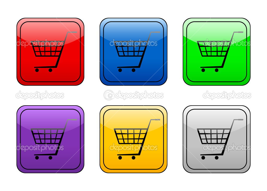 Shopping cart color web icon on a white background. Vector illustration. — Stock Vector #2195836