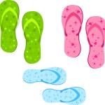 bunte Flip-flops Satz — Stockvektor