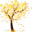 Stock Vector: Autumn tree with falling leaves