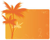 Orange banner with palm — Vetorial Stock
