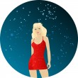 Royalty-Free Stock Vectorielle: Dancing blond women in red dress