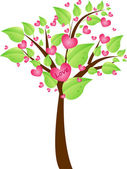 Valentine tree with leaves and hearts — Stockvector