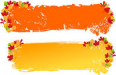 Grunge banners with autumn leaves orname — Stock Vector