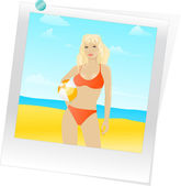 Woman in swimsuit with beach ball — Stock Vector