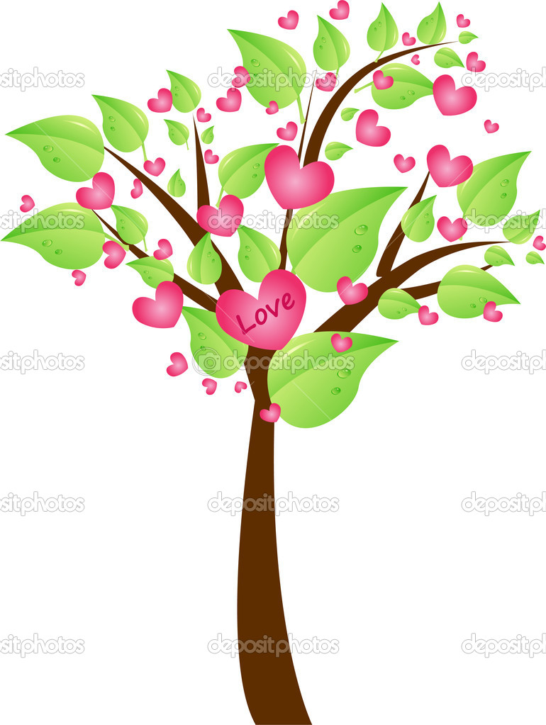 Valentine tree with pretty green leaves and hearts in tree crown with sign love.Valentine day design element. — Stock Vector #1033998
