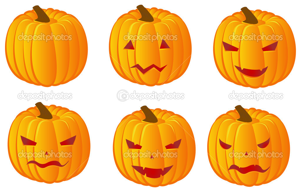 Vector set of six halloween pumpkins for your design — Stock Vector #1036392