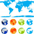 Royalty-Free Stock Imagem Vetorial: Set of vector earth glossy globe