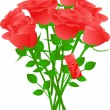 Vector bouquet of red roses — Vector de stock