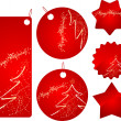 Red christmas sale badges — Stock Vector