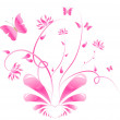 Pink floral design with butterflies — Stock Vector