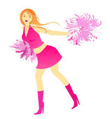 Cheerleader dance with pompons — Stock Vector