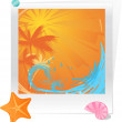 Palm sunset ocean with starfish and seas — Stockvectorbeeld