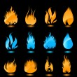 Royalty-Free Stock Vector Image: Blue and orange glowing flames on black