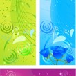 Banners with swirl multicolored design a — Stock Vector