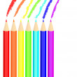 Colored pencil drawing rainbow — Imagens vectoriais em stock