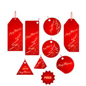Red christmas label big set — Stock Vector
