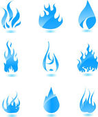 Blue glossy fire icon. Big set — Stock Vector