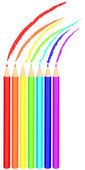 Colored pencil drawing rainbow — Vettoriale Stock