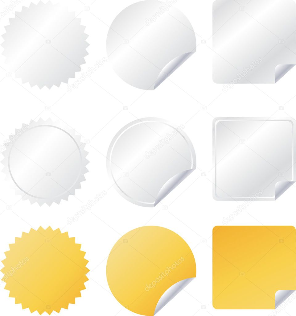 Set of paper vector web badges stock illustration