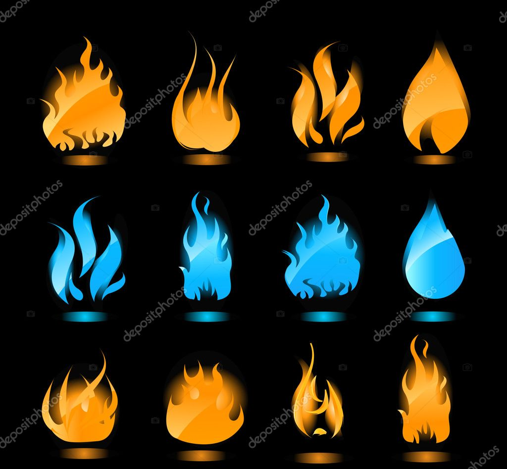 Big set of blue and orange flames with glowing. Gas flames and fire flames.  Stock Vector #1125596