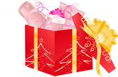 Christmas open gift with cosmetics — Stock Vector