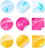 Set of multicolored labels with shiny de — Stock Vector