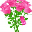 Vector bouquet of roses with gift tag — Imagen vectorial